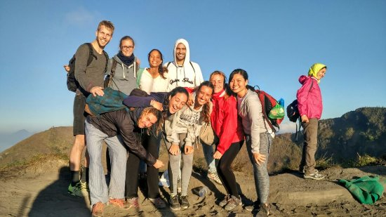 group trekking on mount batur