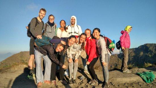 group trekking on mount batur